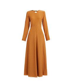 tie-back polka-dot silk dress
