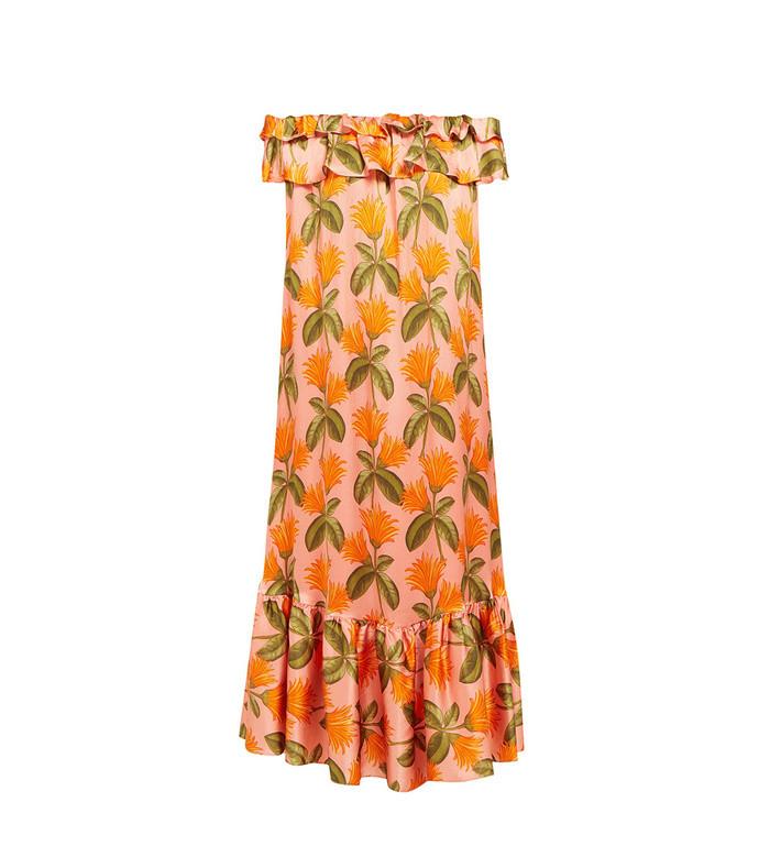agata floral-print silk-satin midi dress