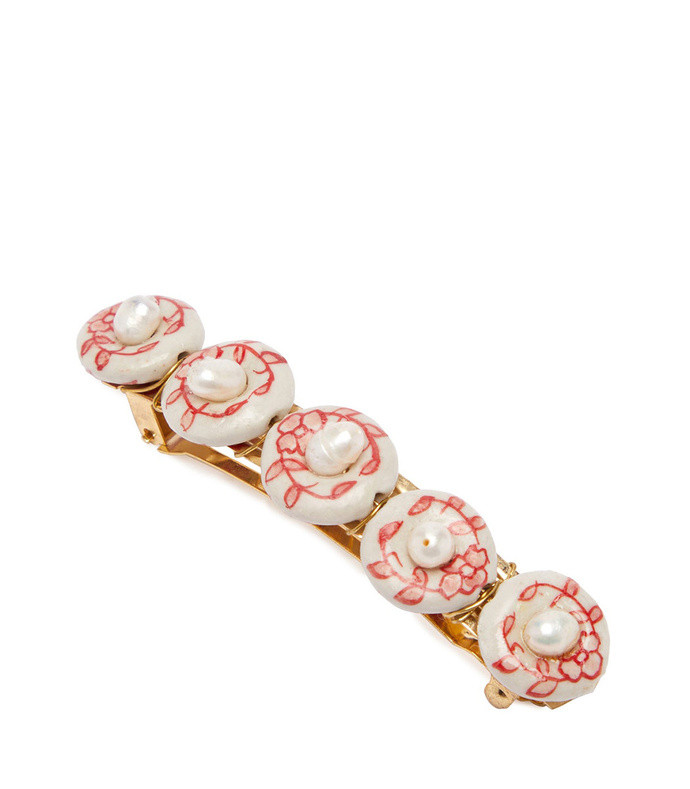 faux-pearl embellished hair clip