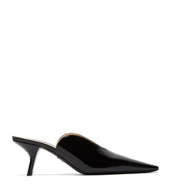 inverted patent leather mules