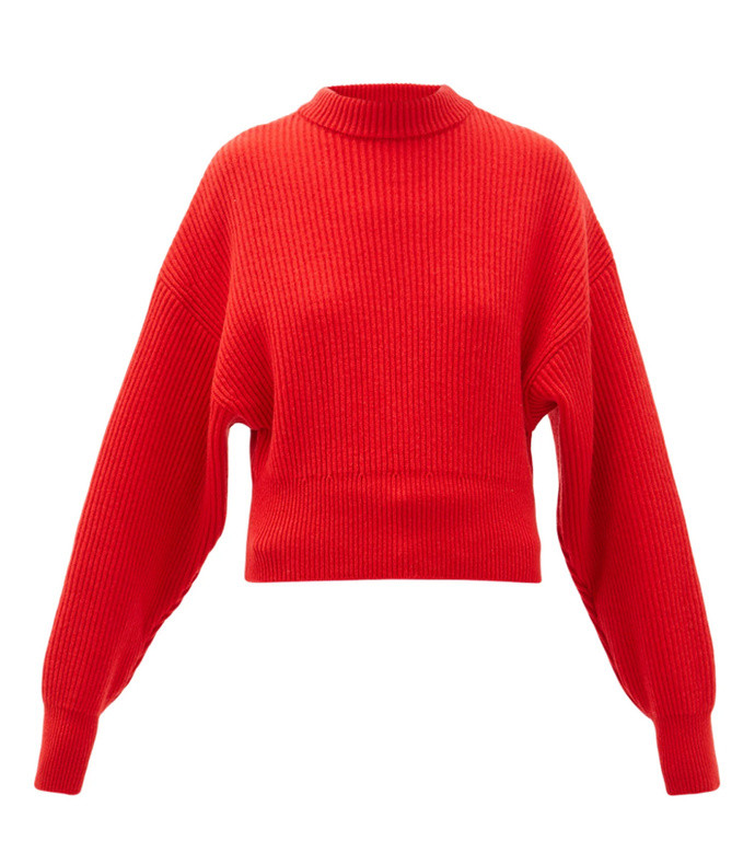 megève cropped ribbed-knit wool sweater