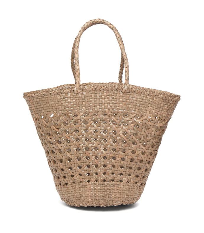 myra woven-leather basket bag