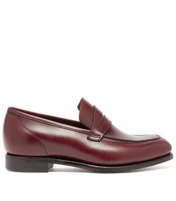 lucy patinated-leather penny loafers