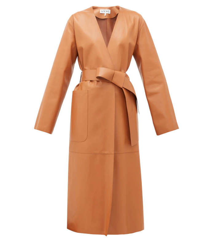 collarless belted leather coat