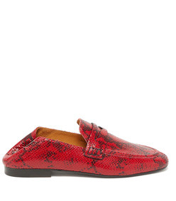 fezzy python-print leather penny loafers
