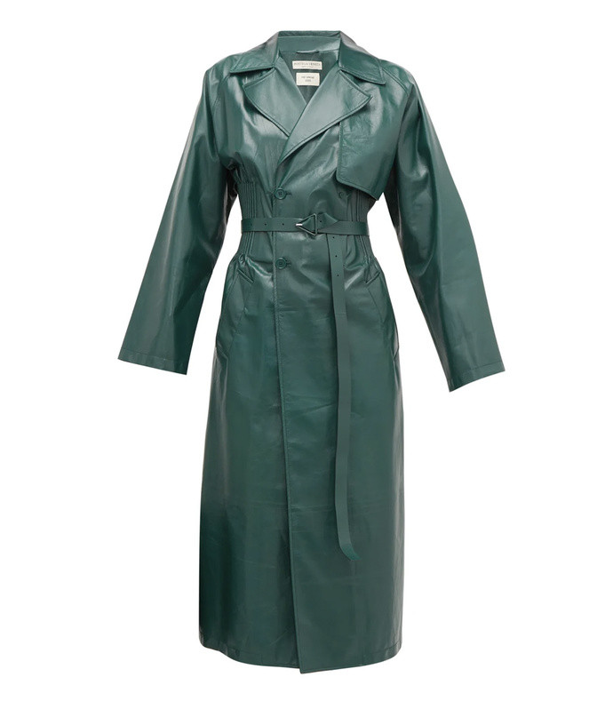 ribbed-waist double-breasted leather trench coat