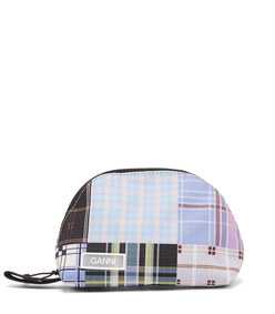 plaid patchwork make-up bag
