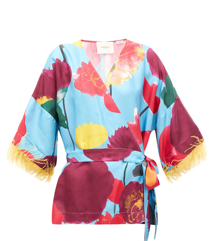 feather-trimmed floral-print silk blouse