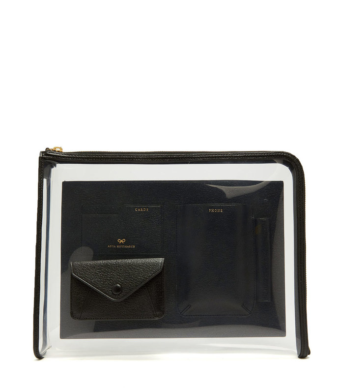 envelope pvc and grained-leather pouch