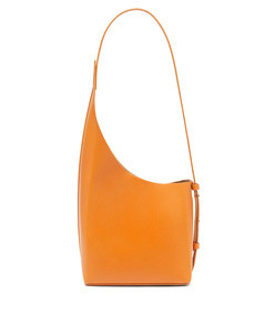 demi lune leather shoulder bag in orange