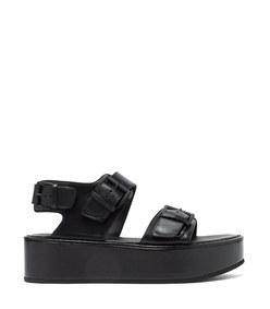buckled patent-leather flatform sandals