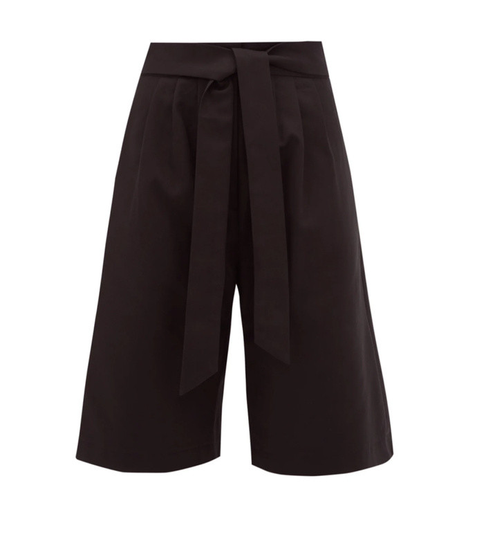 sant pere high-rise pleated cotton-twill shorts