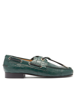toggled crocodile-effect leather loafers