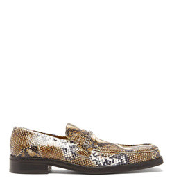 python-embossed leather penny loafers