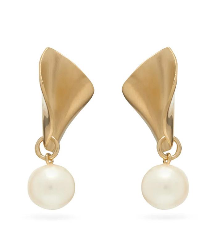 18kt gold-plated drop earrings