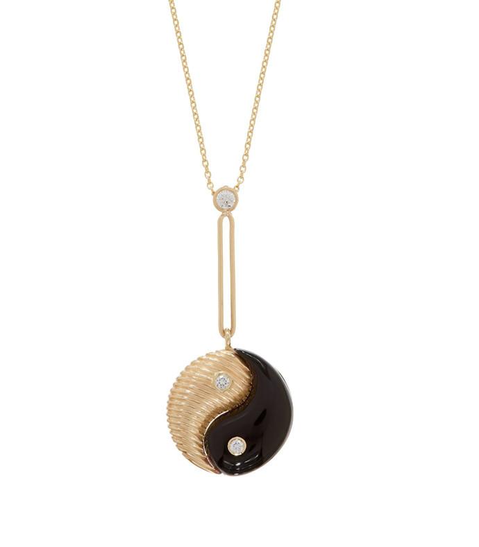 yin yang diamond, onyx & gold necklace