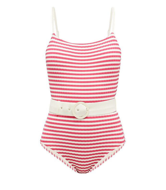 the nina belted striped swimsuit