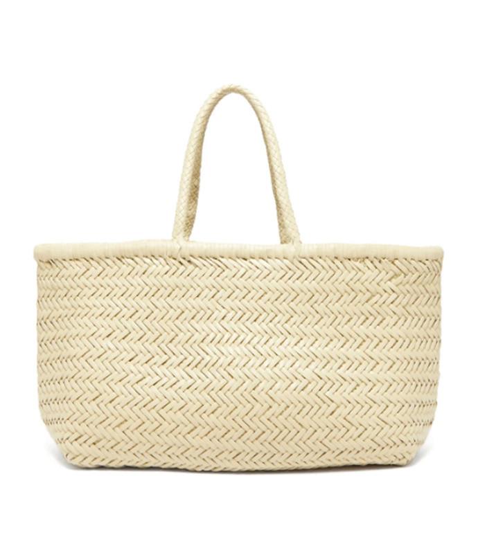 triple jump large woven-leather basket bag