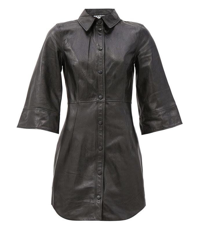 bell-sleeve leather mini dress