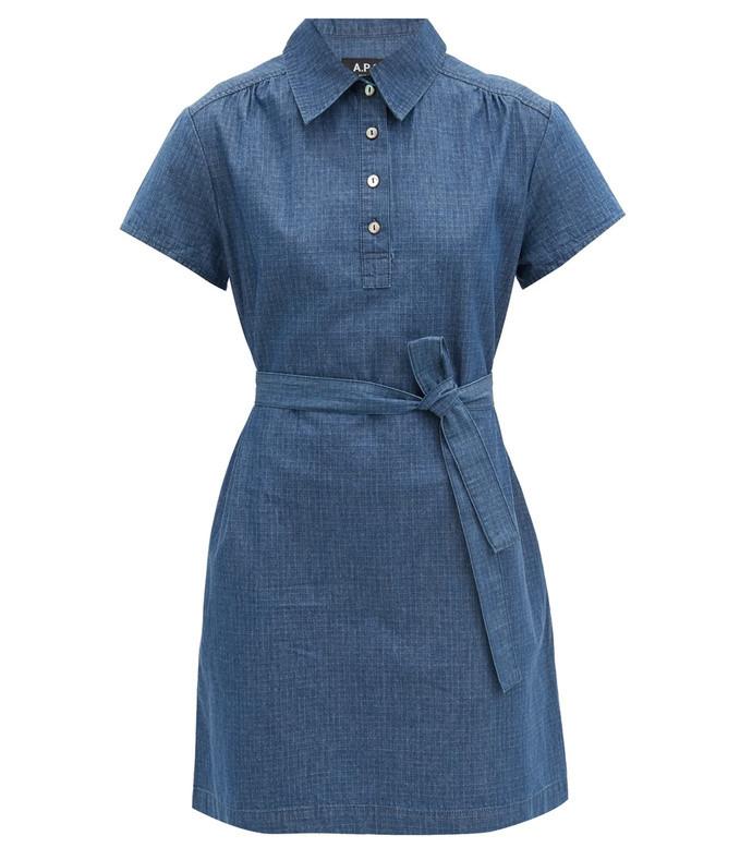 prudence belted denim mini dress