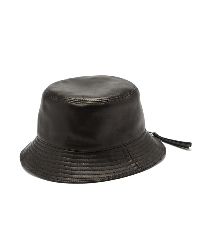 zipped-brim leather bucket hat