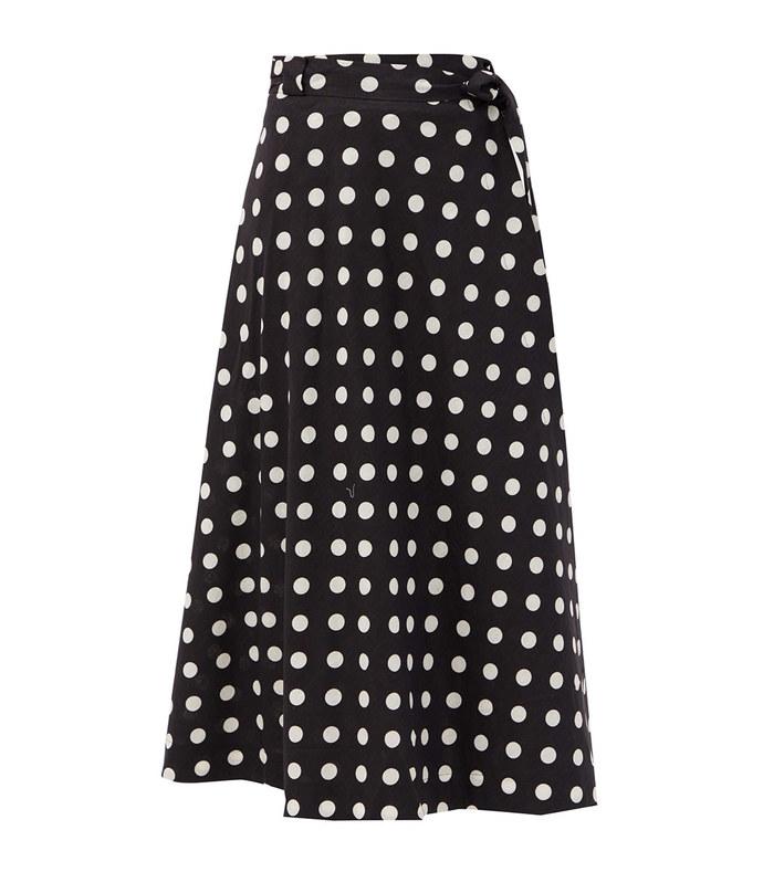 bellitude polka-dot linen-blend midi skirt