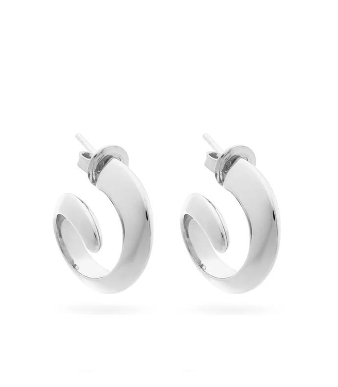 coiled silver hoop earrings