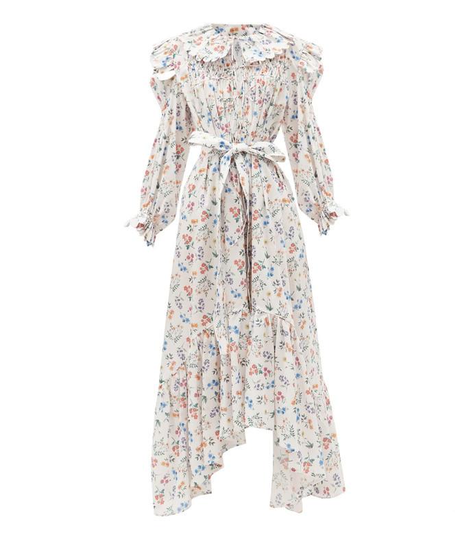 defensia floral-print cotton midi dress