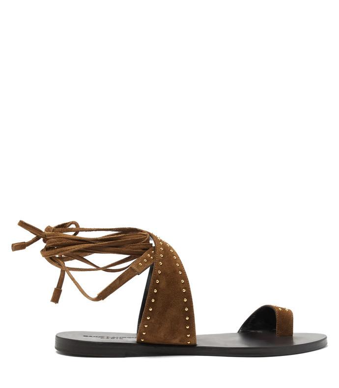 gia studded wraparound suede sandals