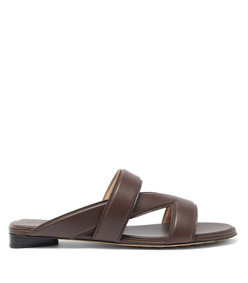 the band cross-strap leather slides