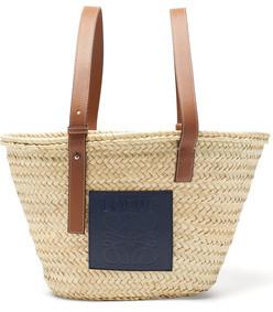 logo-patch raffia basket bag