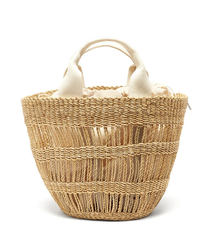lint woven-straw tote bag