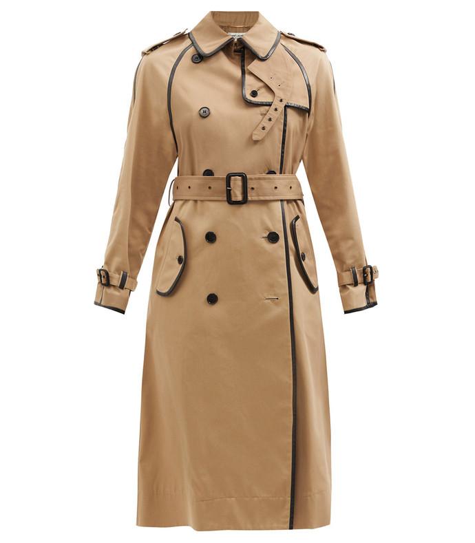 leather-trimmed gabardine trench coat