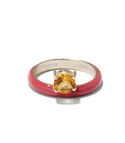 unicorn rainbow citrine, enamel & silver ring