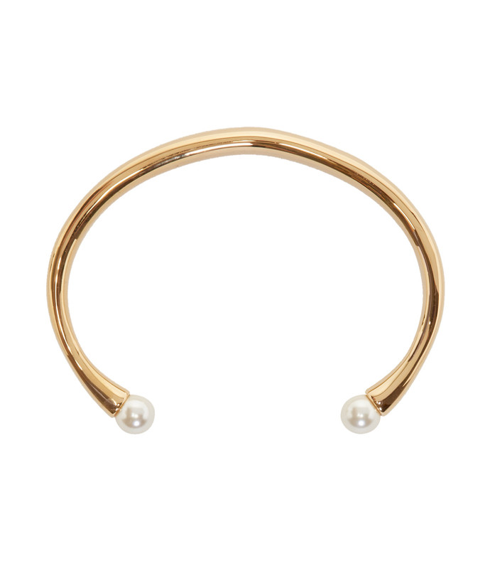 gold darcey round double pearl cuff