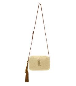 white camera shearling bag