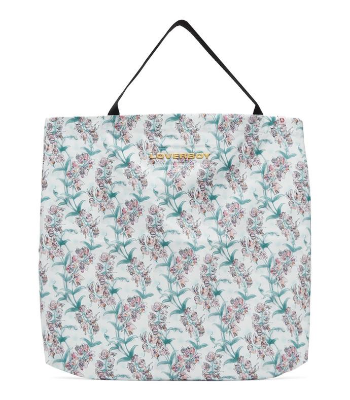 white large blooms tote bag