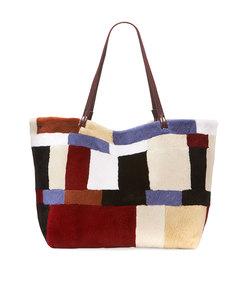 patchwork fur shopper tote bag