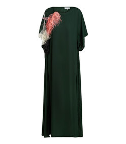 feather-trimmed draped crepe gown