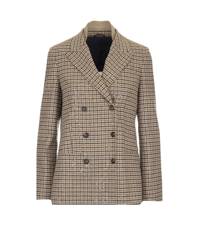 sequins embellished checked blazer