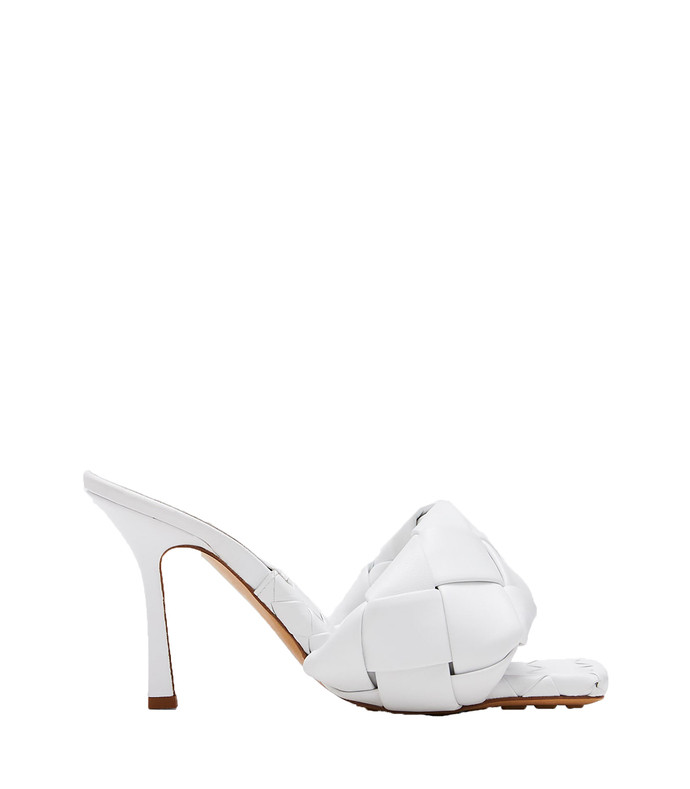 puffy intreccio square-toe mules