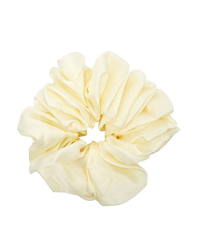 cyndi pastel yellow satin scrunchie