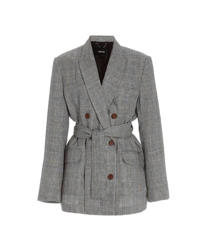 needham plaid linen double-breasted blazer