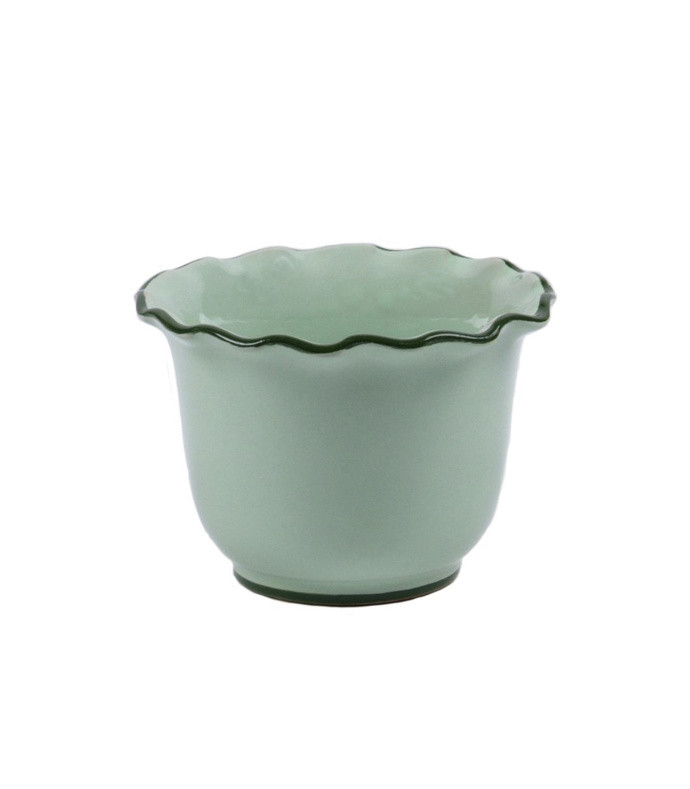 set-of-two hand-painted medium scalloped ceramic planters
