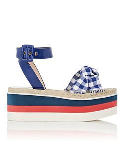 crisscross-strap gingham platform sandals