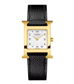 heure h, gold plate & leather strap