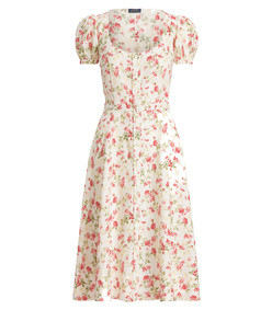 floral belted linen dress