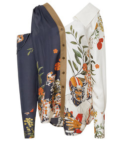 football and floral-print silk blouse