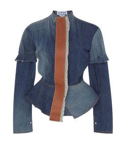 leather-trimmed denim peplum jacket