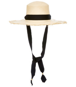frayed woven straw boater hat with adjustable band